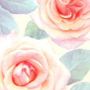 Over sized Faded Pink and Peach Painted Roses