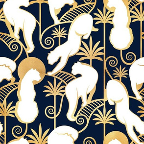 Deco Panthers Garden // navy background white and gold big cats