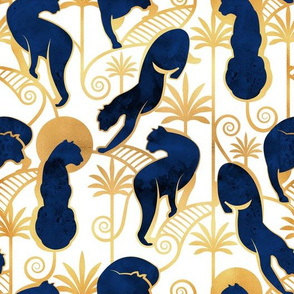 Deco Panthers Garden // normal scale // white background navy and gold big cats