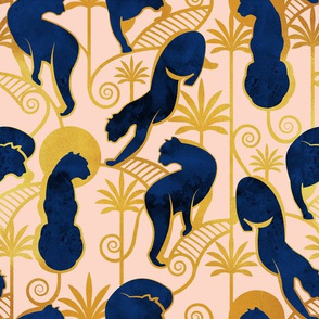 Deco Panthers Garden // salmon pink background navy and gold big cats