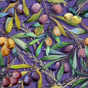 medium scale PROVENCE OLIVES WATERCOLOR  ULTRAVIOLET 2018