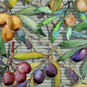 PROVENCE OLIVES WATERCOLOR LIGHT OLIVE GREEN