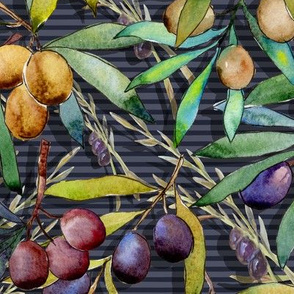 PROVENCE OLIVES WATERCOLOR  INDIGO striped