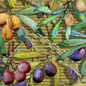PROVENCE OLIVES WATERCOLOR  MUSTARD STRIPED