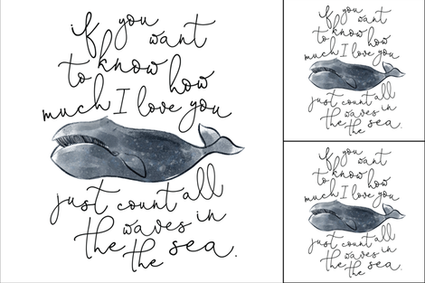 1 blanket + 2 loveys: whale // if you want to know how much I love you fabric by ivieclothco on Spoonflower - custom fabric