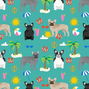 French Bulldog beach summer tropical palm tree frenchie dog fabric teal