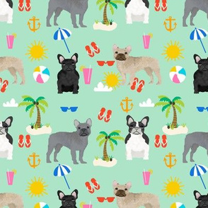 French Bulldog beach summer tropical palm tree frenchie dog fabric mint