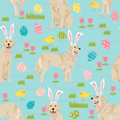 Golden Retriever Easter Dog Breed Fabric For Spring Blue