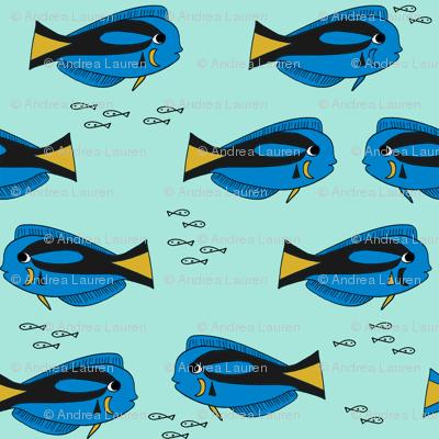 blue tang fish fabric nursery baby crib decor mint