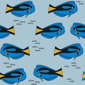 blue tang fish fabric nursery baby crib decor medium blue
