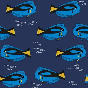blue tang fish fabric nursery baby crib decor dark