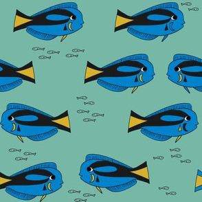 blue tang fish fabric nursery baby crib decor teal