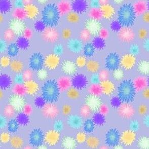 poms on dusky violet