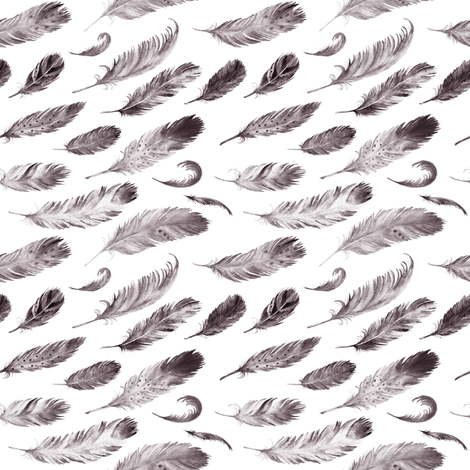 "4"" Black and White Feathers fabric by hipkiddesigns on Spoonflower - custom fabric"