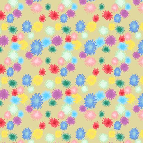 poms on beige fabric by bloomingwyldeiris on Spoonflower - custom fabric
