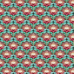 Magenta King Protea Art Deco (teal) ditsy