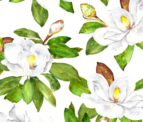 Magnolia Flowers Bright White Large Floral Print Wallpaper