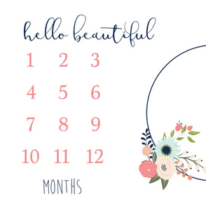 Hello Beautiful Floral Monthly Milestone 1 Yard Blanket Photo Prop