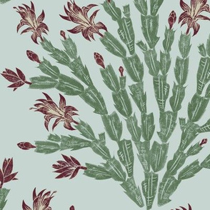 Christmas cactus - burgundy and grey-green damask