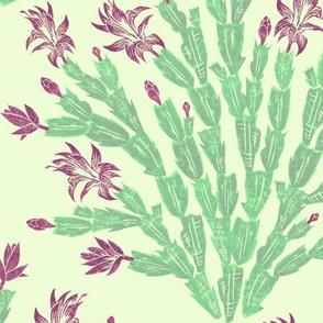 Christmas cactus damask - alexandrite
