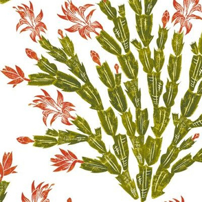 autumn Christmas cactus damask