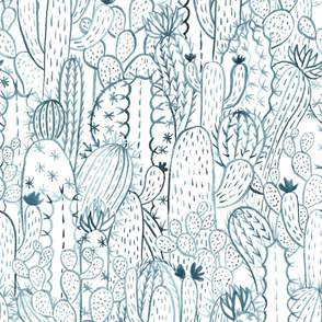 Blue cactus watercolor