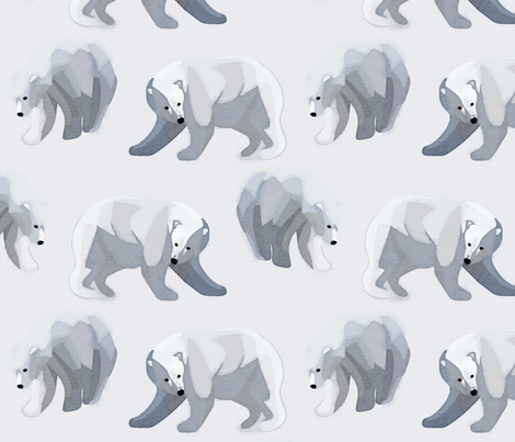 Glacier Bears - Charcoal [Large Scale] fabric by elisabethnoel on Spoonflower - custom fabric