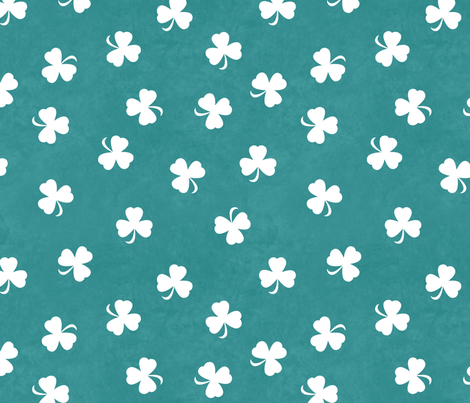 Shamrocks On Watercolor Teal fabric by bags29 on Spoonflower - custom fabric
