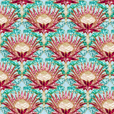 Magenta King Protea Art Deco (dusty blue) fabric by helenpdesigns on Spoonflower - custom fabric