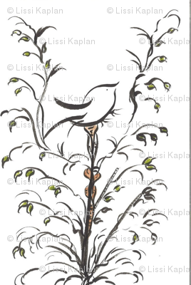 watercolor black bird on branch two