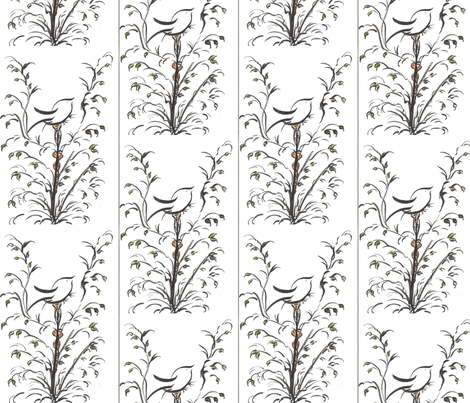 watercolor black bird on branch two fabric by lissikaplan on Spoonflower - custom fabric
