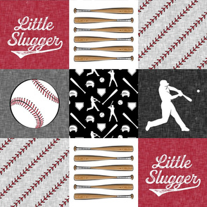 little slugger baseball patchwork - red black and stitches wholecloth