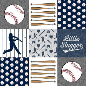 little slugger baseball patchwork - grey blue and pinstripes