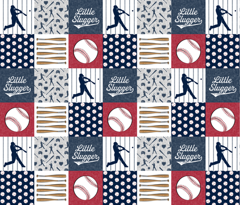 Little Slugger Baseball Patchwork fabric - red blue pin stripes fabric by littlearrowdesign on Spoonflower - custom fabric