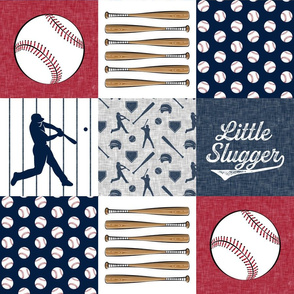 Little Slugger Baseball Patchwork fabric - red blue pin stripes