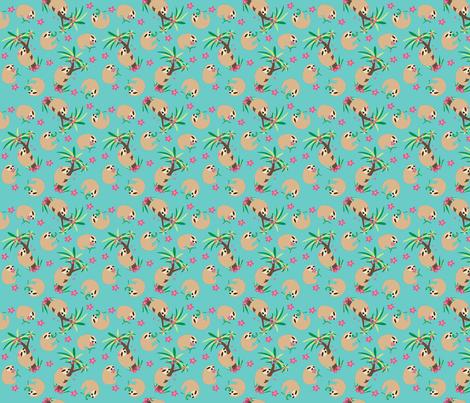 Sloth Hugs Teal Small fabric by phyllisdobbs on Spoonflower - custom fabric