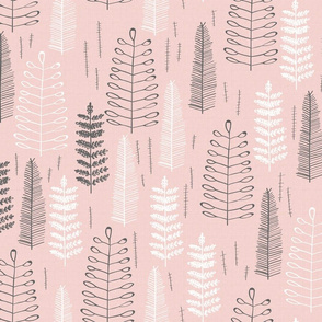 Pink Ferns - Large Scale