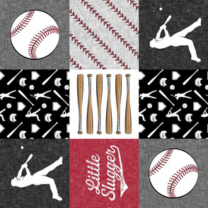 little slugger baseball patchwork - red black and stitches wholecloth (90)