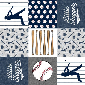 little slugger baseball patchwork - grey blue and pinstripes (90)