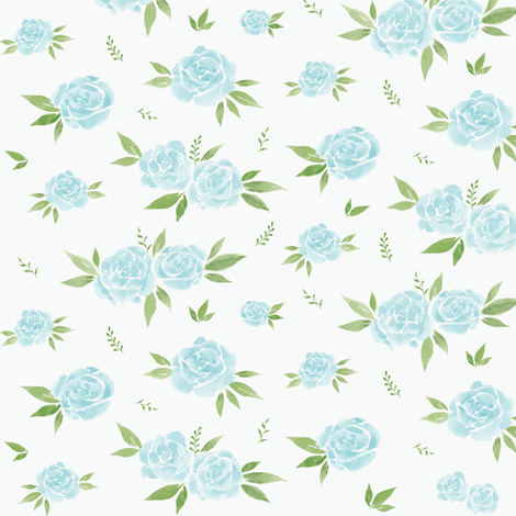 Soft Blue Floral fabric by courtneyrosedesign on Spoonflower - custom fabric