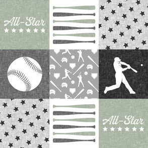 All-Star - baseball patchwork - sage - wholecloth
