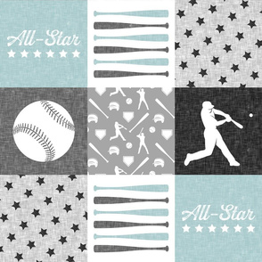 All-Star - grey and blue baseball patchwork wholecloth