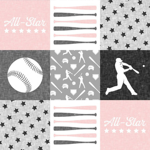 All-star  - pink and grey baseball patchwork wholecloth