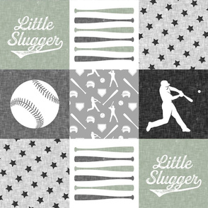 Little Slugger baseball patchwork - sage - wholecloth