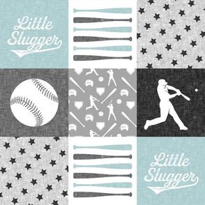 Little Slugger - grey and blue baseball patchwork wholecloth