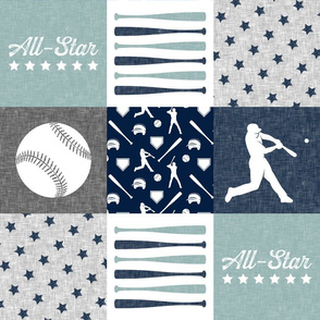 All-Star - baseball patchwork - dusty blue - wholecloth