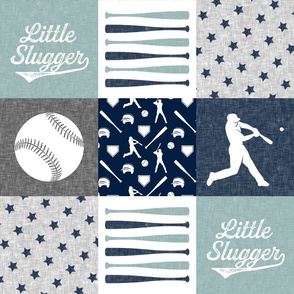 Little Slugger -  baseball patchwork - dusty blue - wholecloth