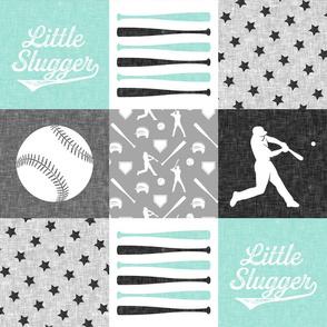 baseball patchwork - little slugger - aqua grey