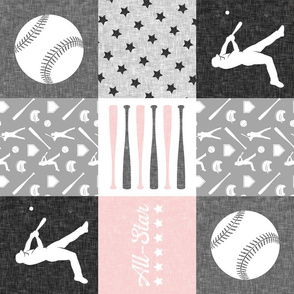 All- star - pink and grey baseball patchwork wholecloth (90)