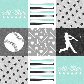 baseball patchwork - All - Star - aqua grey